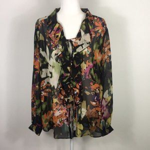 Cabi Floral Front Tie Ruffle Long Sleeve Blouse